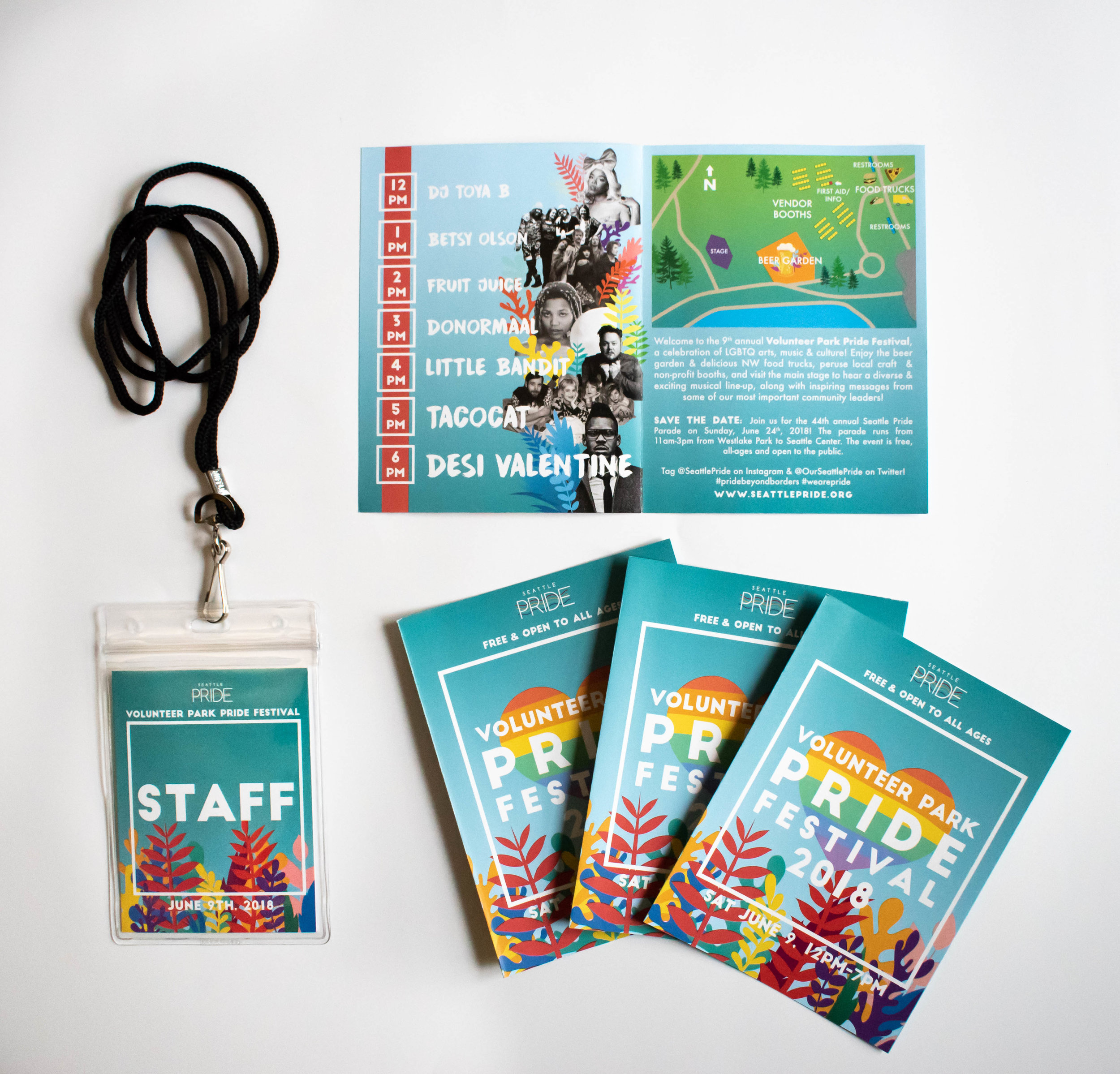 Staff badge, event brochure