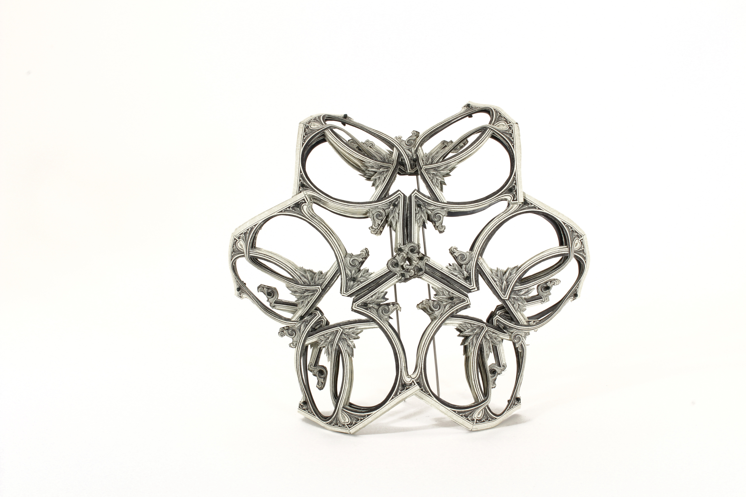 $60.00 Currency Converted   |  Brooch  |  US Dollars, Monofilament, and Surgical Steel  |  2015  |  Private Collection  |  1/1