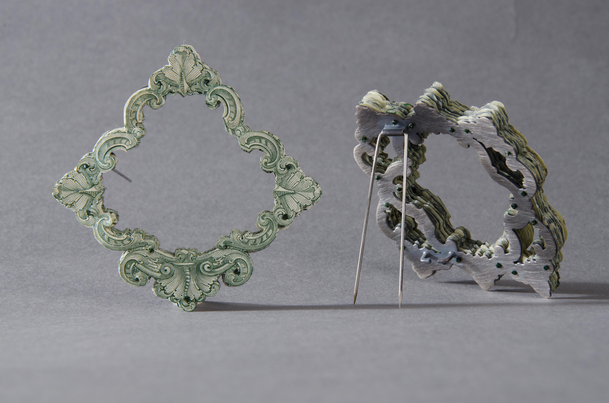$36.00 and $45.00 Currency Converted  | Brooches | US Currency, Silver, Latex, Monofilament, and Surgical Steel | 2013 | Photo Credit Marc Creedon