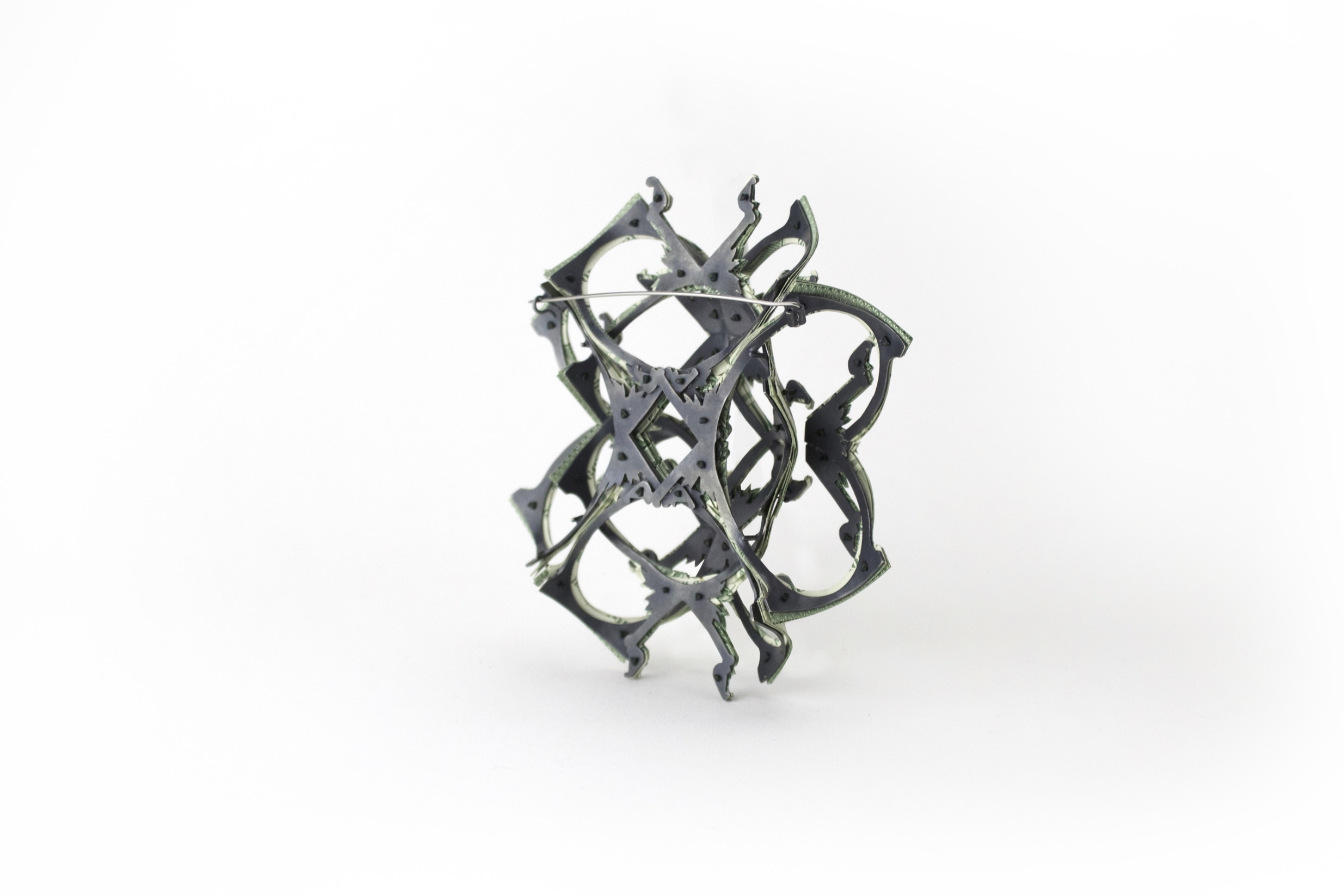 $97.00 Currency Converted | Brooch Backside | US Dollars, Silver, Monofilament, and Surgical Steel | 2016 | 1/1
