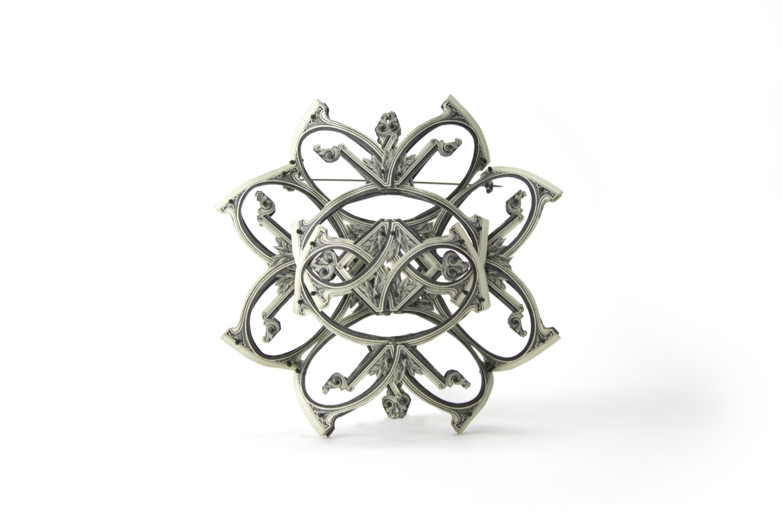 $97.00 Currency Converted | Brooch | US Dollars, Silver, Monofilament, and Surgical Steel | 2016 | 1/1