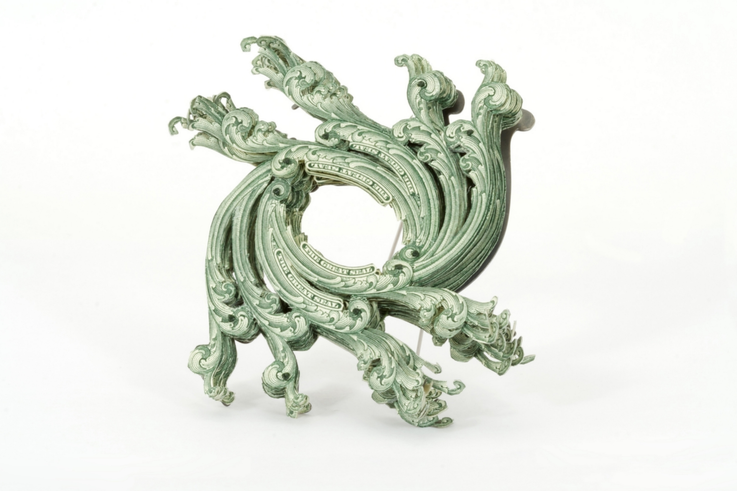 $36.00 Currency Converted  | Brooch | US Currency, Silver, Latex, Monofilament, and Surgical Steel | 2012 | Private Collection | 1/1