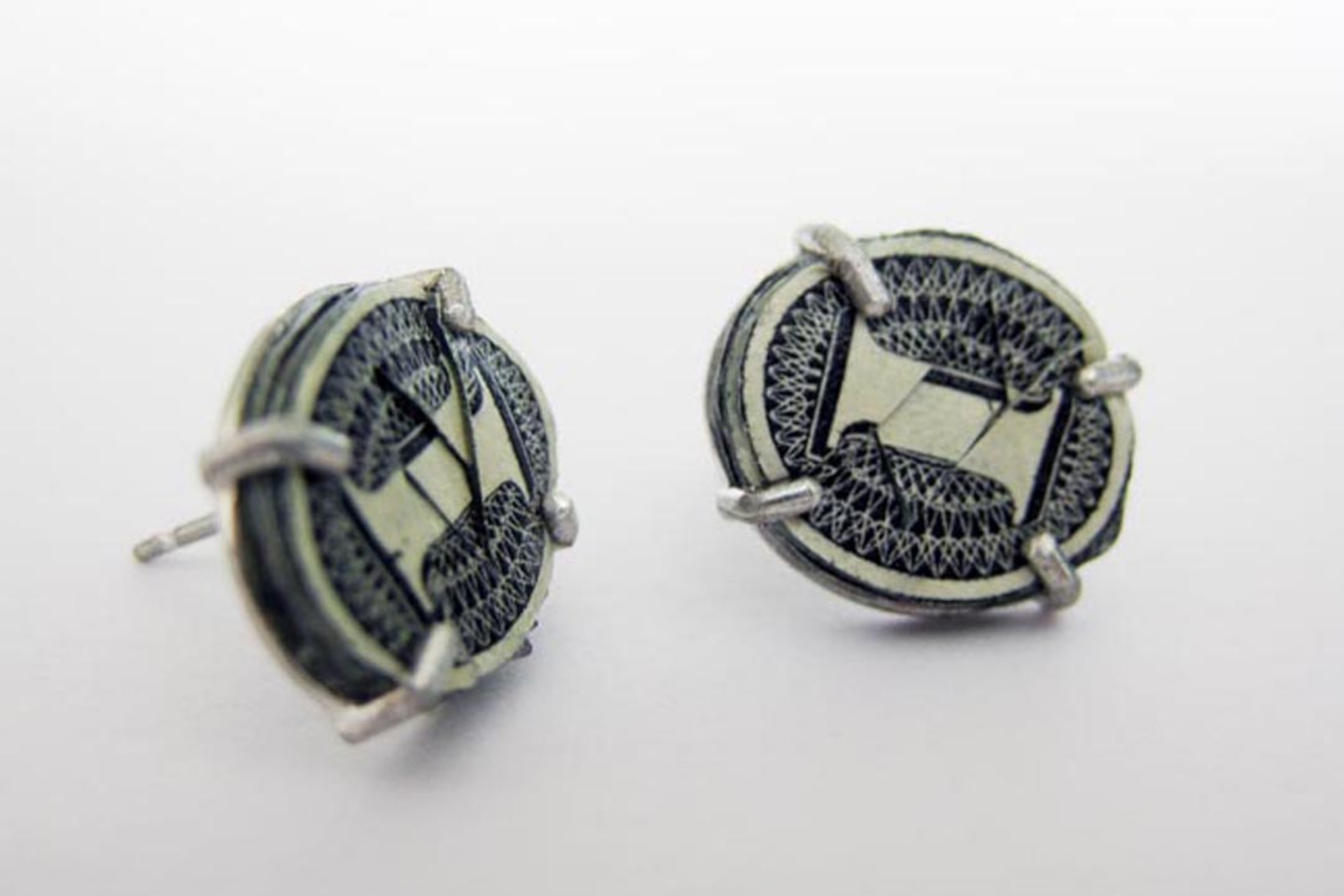 $4.00 Studs | Earrings| US Currency, Latex, and Silver | 2012