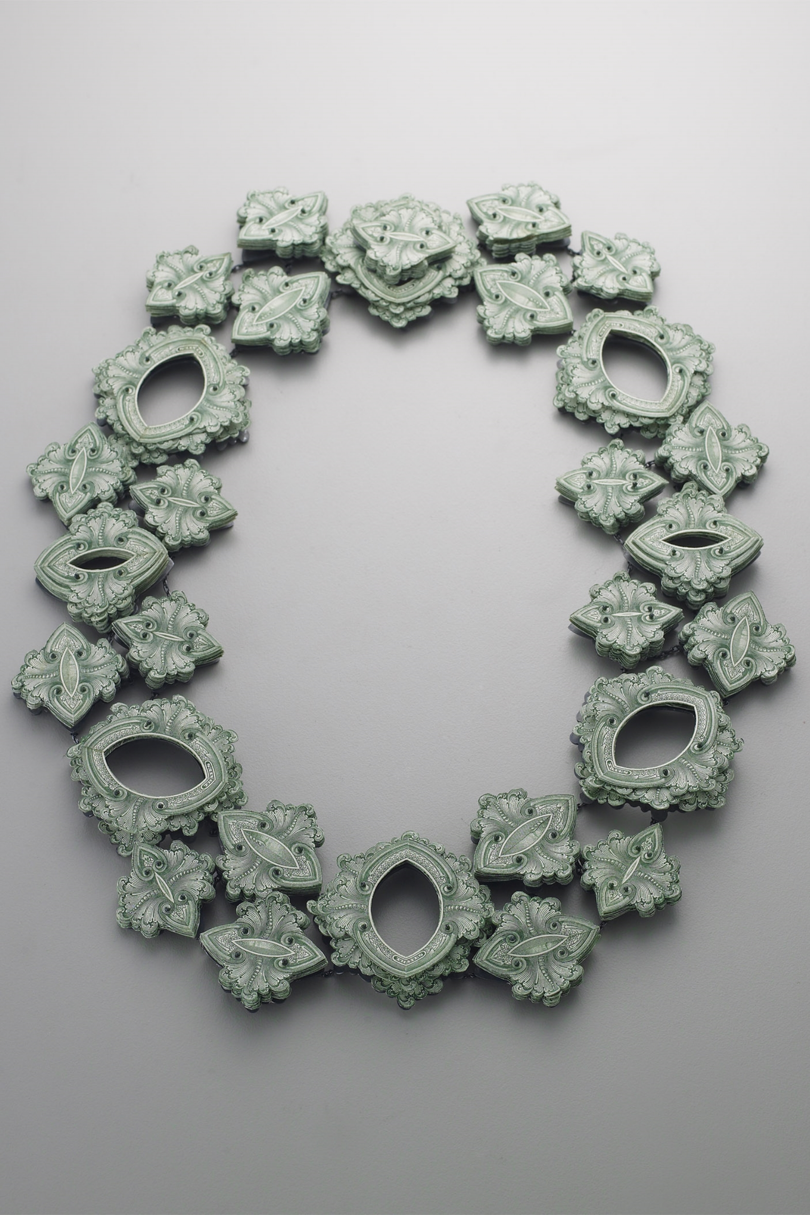 $178.00 Currency Converted  | Necklace | US Currency, Silver, Latex, and Monofilament | 2013 | Photo Credit Munch Studio | Newark Museum Permanent Collection | 1/1