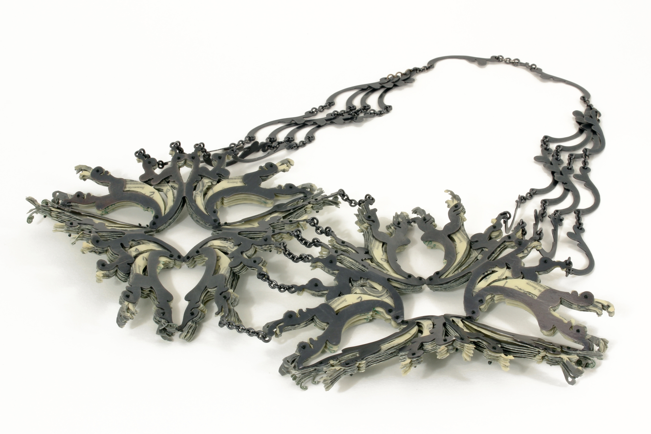$84.00 Currency Converted | Necklace Back Side | US Currency, Silver, Latex, and Monofilament | 2014 | Private Collection | 1/1