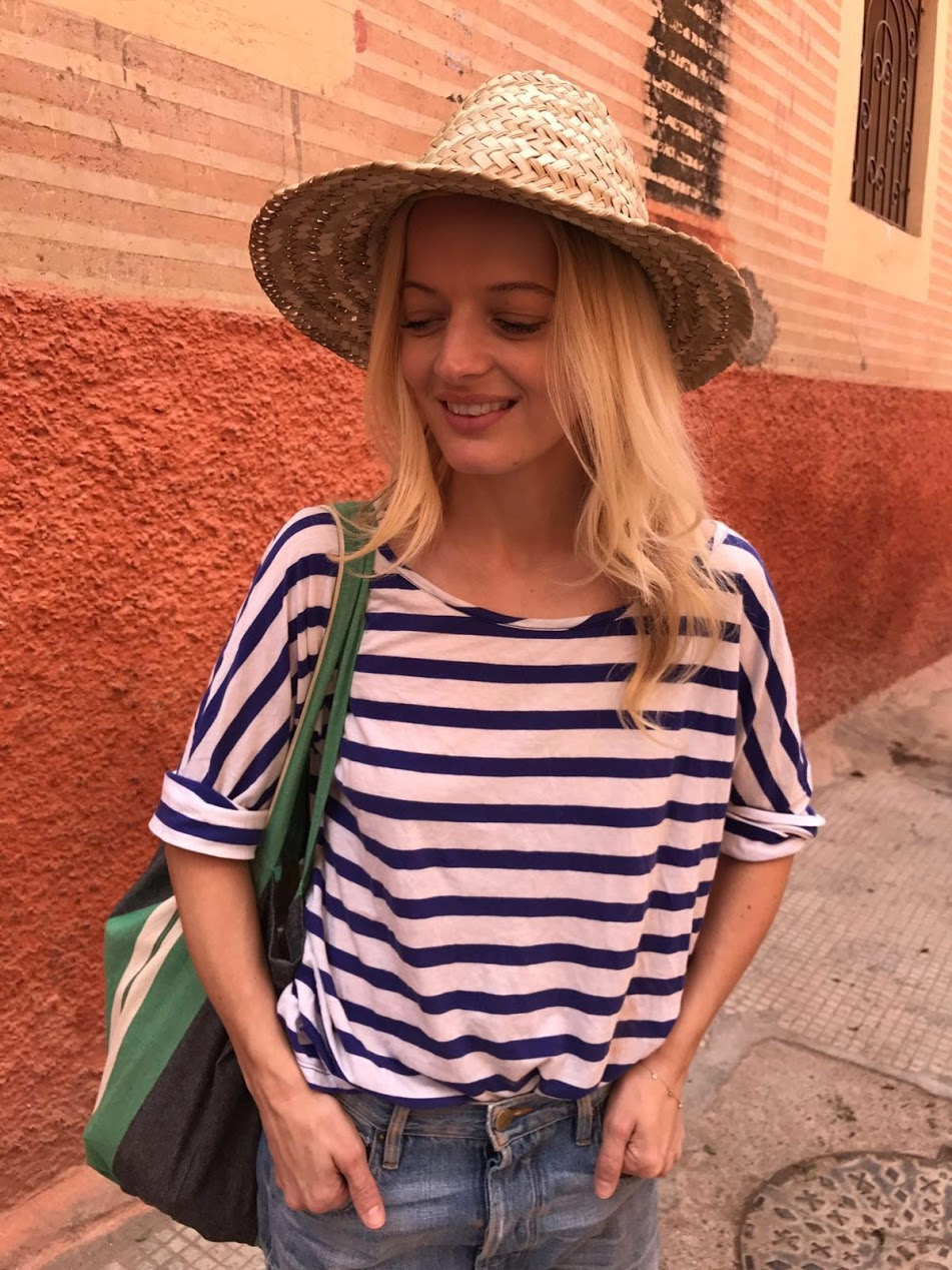 Ph: Stripes on stripes. Elle Strauss in Marrakesh