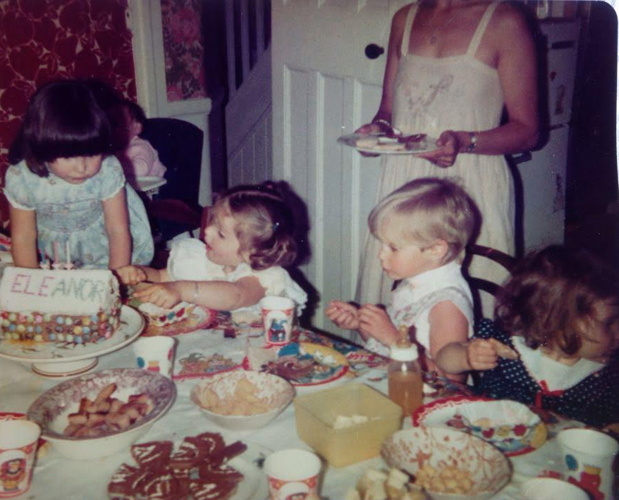 Ph: My 3rd birthday - I'm second from left and my sister Zoe, far right.