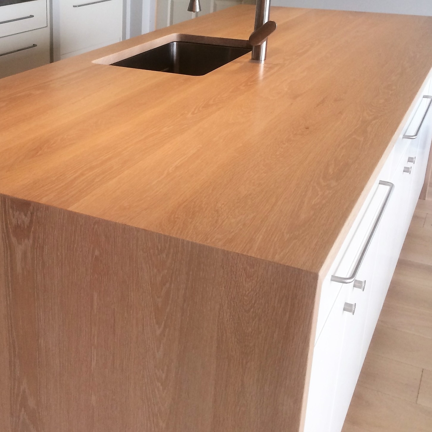 Waterfall counter top, made from White Oak.