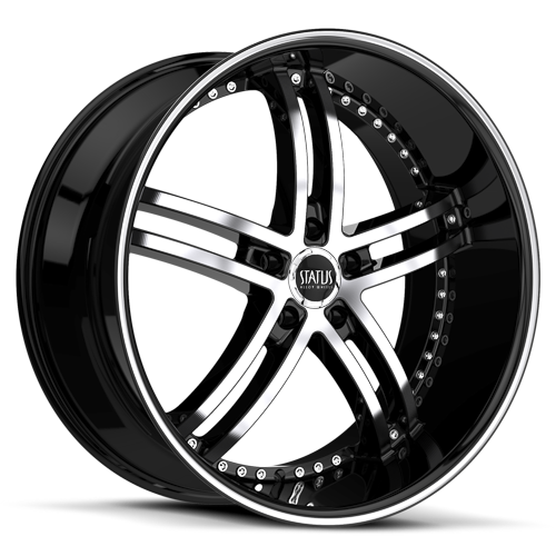 S816 KNIGHT 5  Gloss Black w/ Machined Face and Pin Stripe