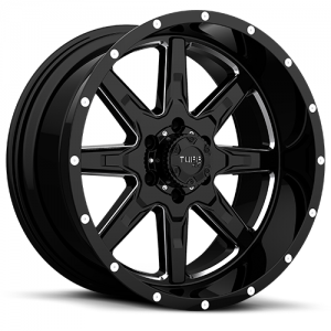 T-15 GLOSS BLACK W/ MILLED SPOKES