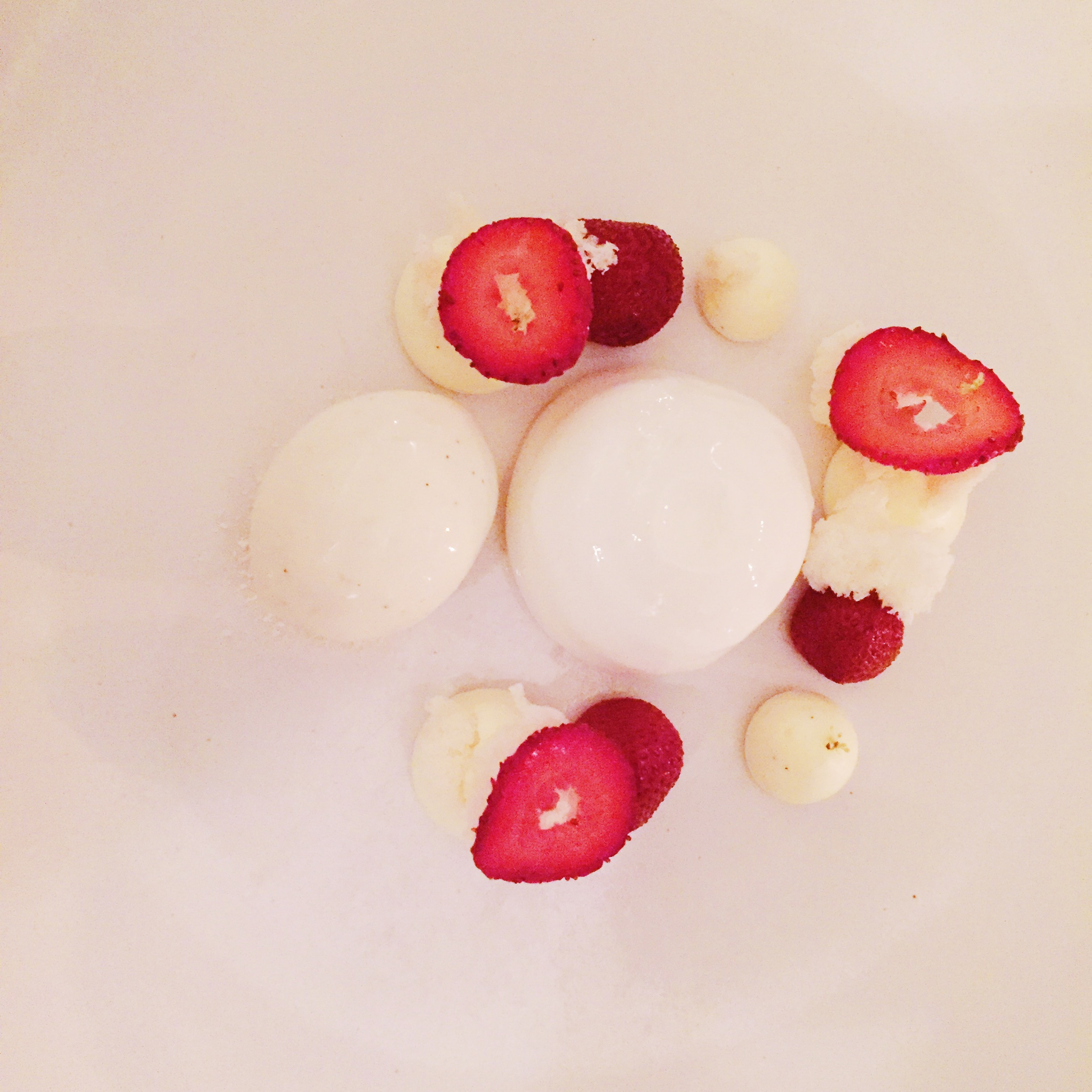 Strawberries, poached with vanilla and elderflower