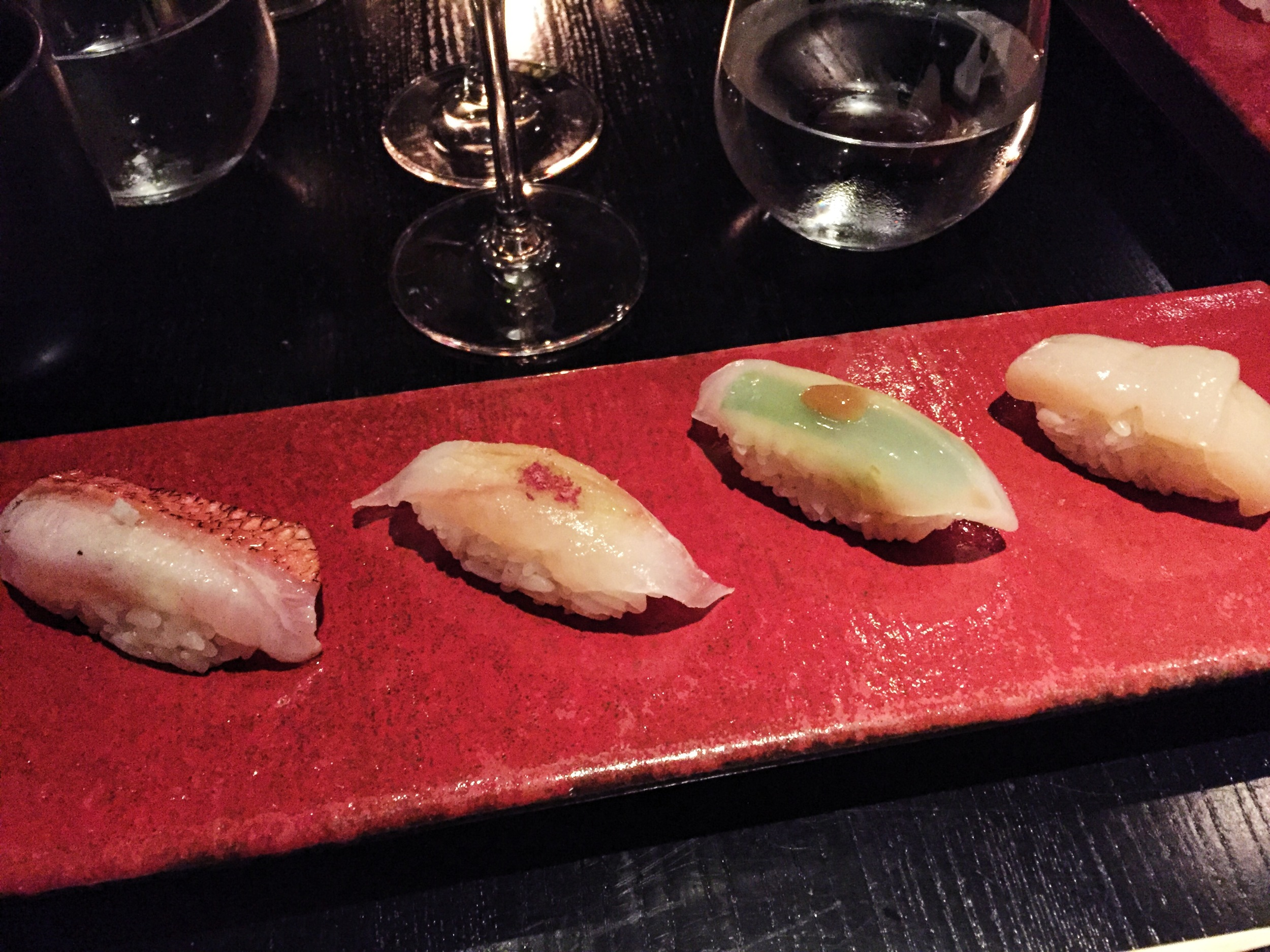 Courses 4-7: Squid, scallop, ikura