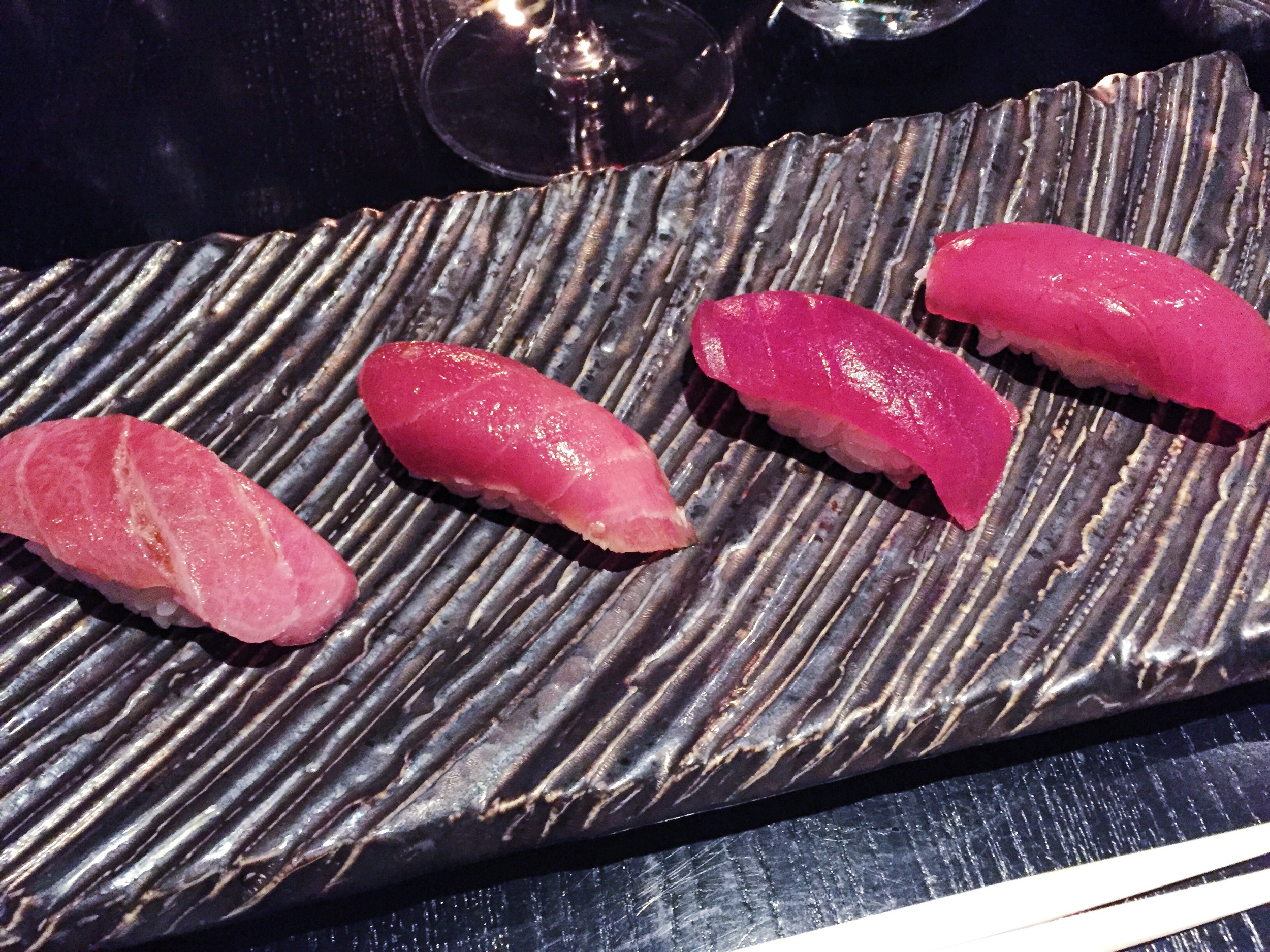 Tunaaaaaa, otoro, chutoro, and akami (fatty, medium fat, and lean)