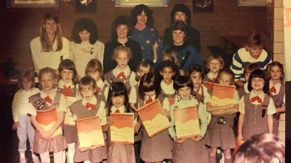 Tricia's Brownie troop in 1988. (Her mom is in the center with the perm!)