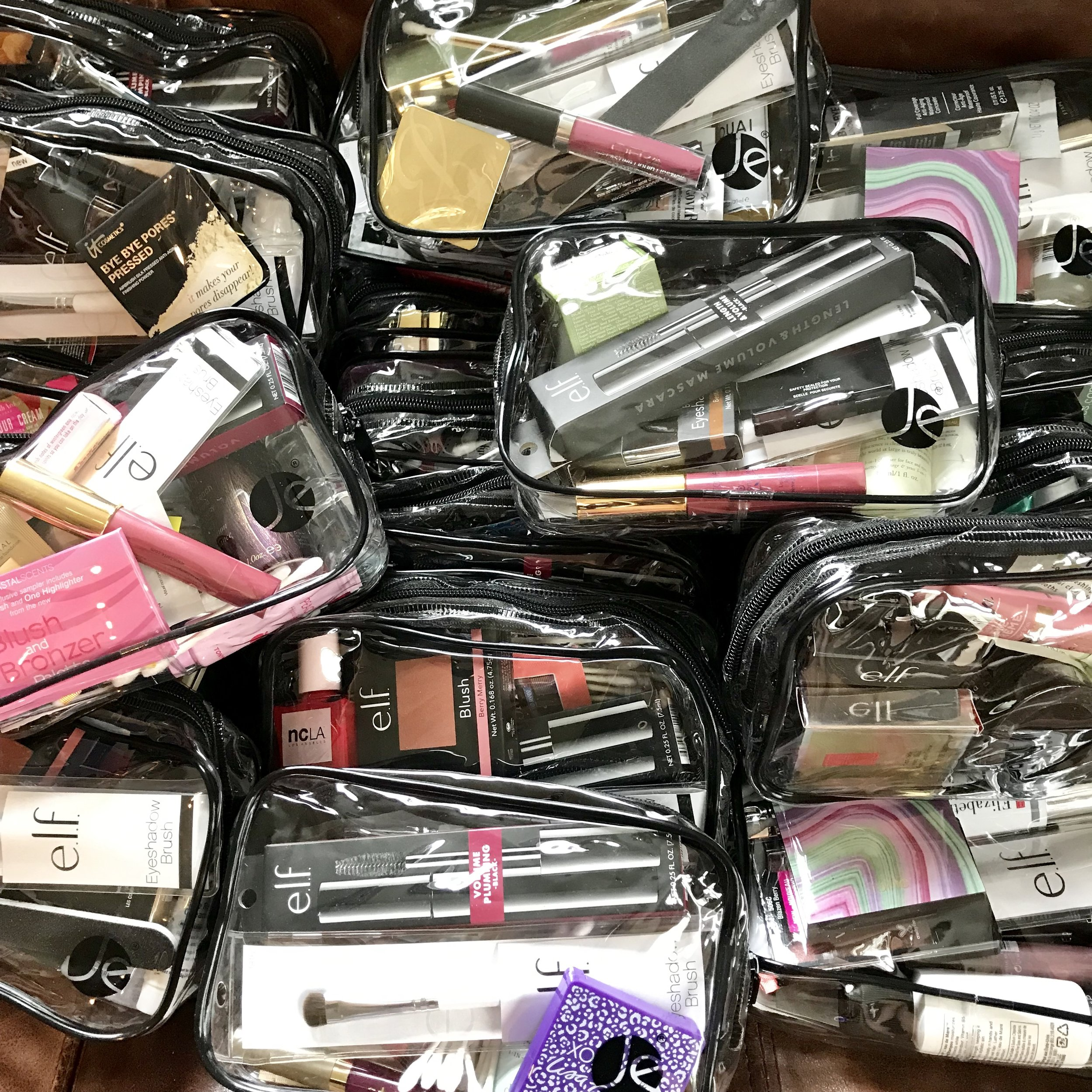 We supplemented the many donations with purchased makeup through financial support from friends.