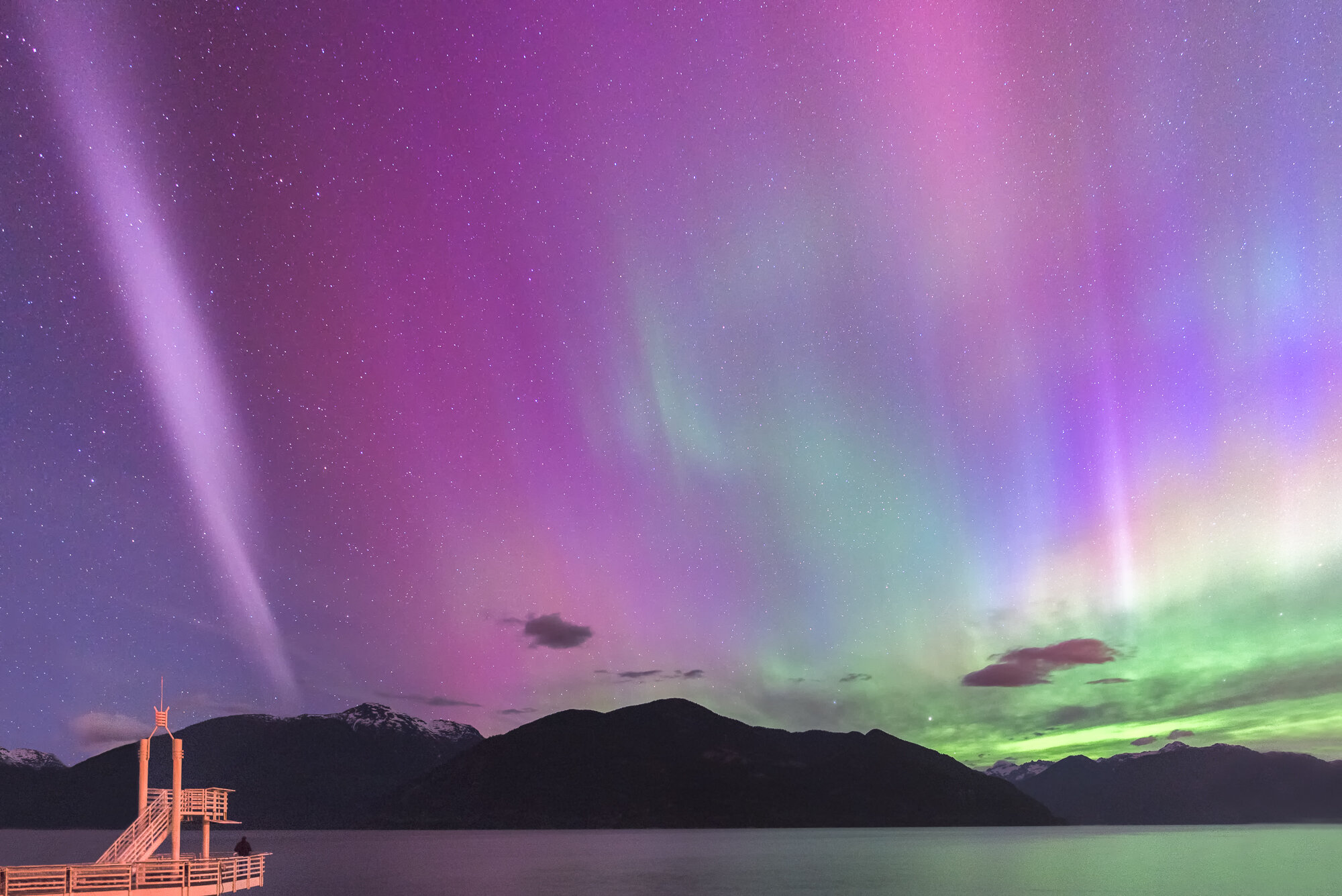 Vancouver Northern Lights Photography: 'Steve in Porteau Cove'