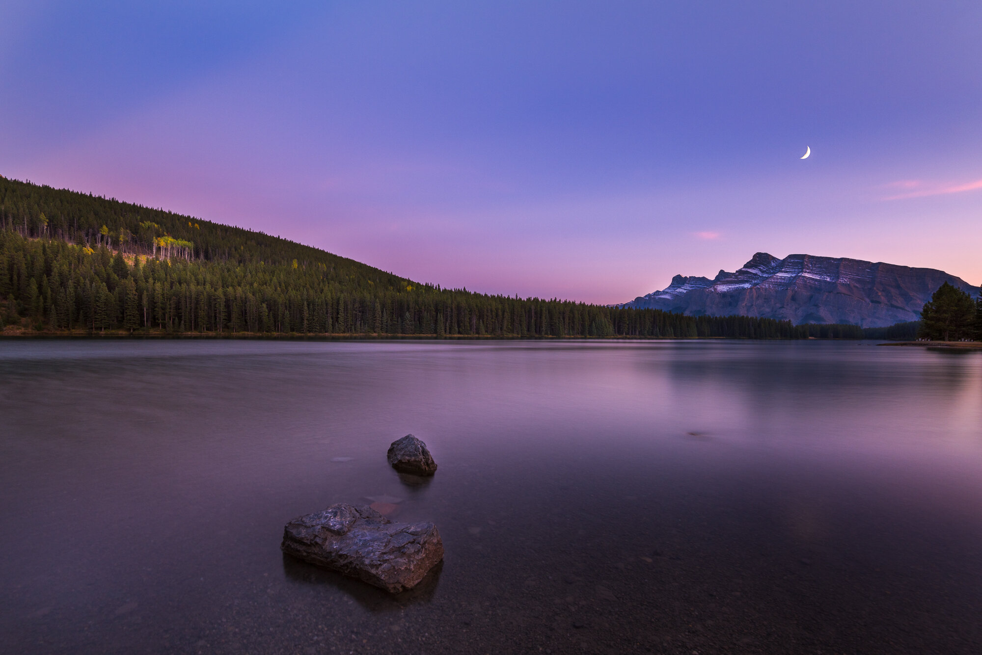 Banff Photography: 'Crescent Moon over Two Jack Lake'