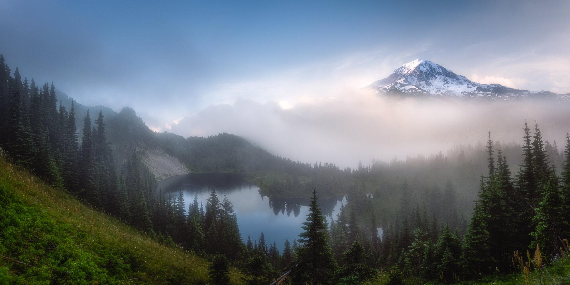 Mount Rainier Photography: 'Peaking Through Fog'