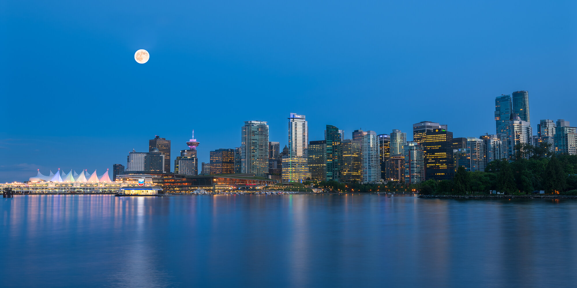 Vancouver City Photography: 'Classic Vancouver Viewpoint under Moonlight'