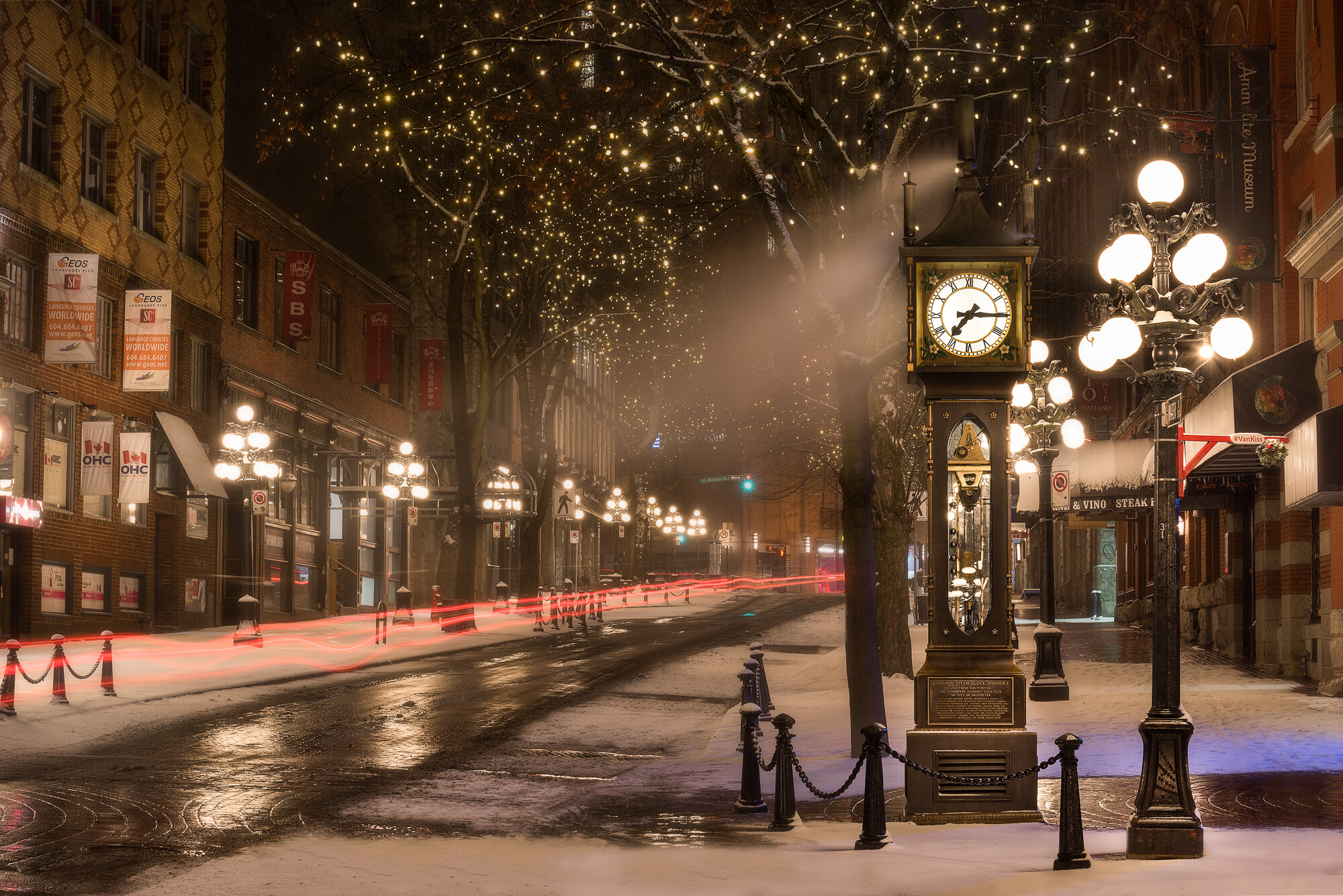 Vancouver City Photography: 'Gastown Steamclock during a Snowstorm'