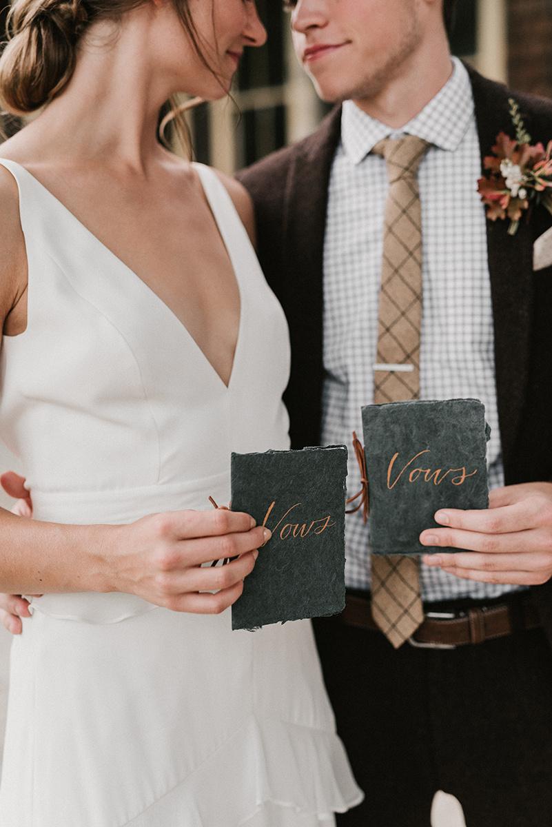 New Hampshire_Weekend Away Wedding Vow Books Bride Groom