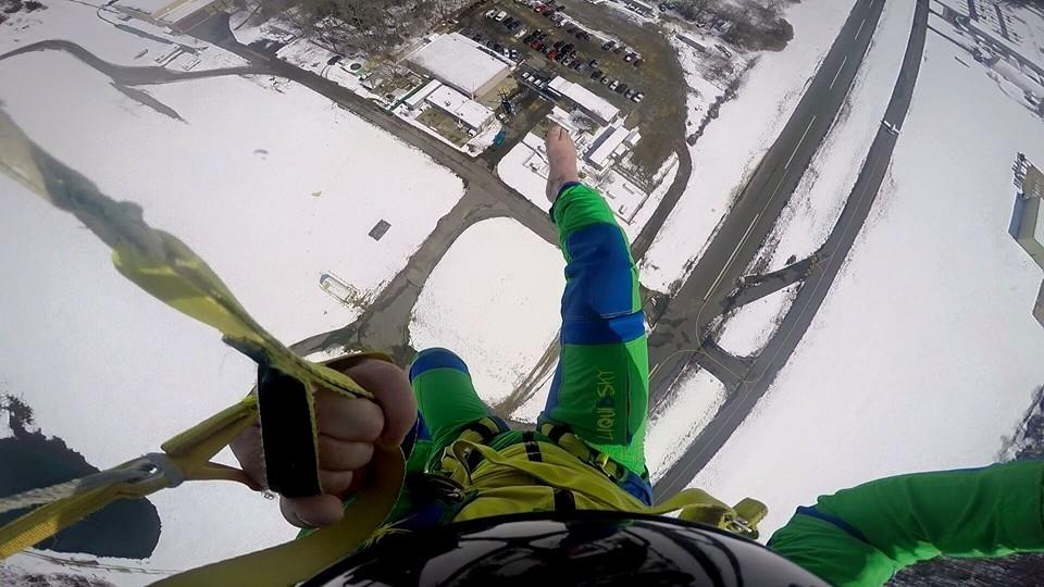 winter and skydiving