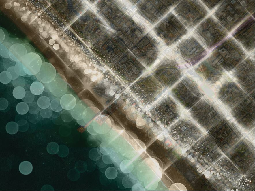 """Juxtaposition of the Santa Monica Coast and the 'Grid"""" of the city"""