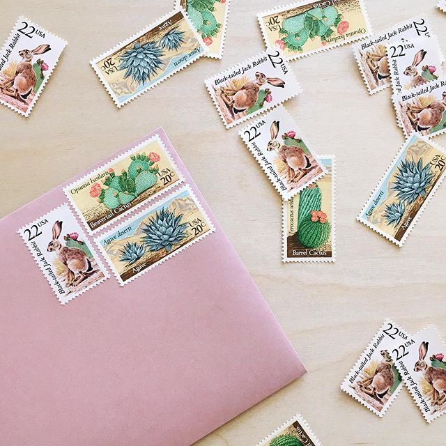 I'm really looking forward to this final leg of wedding-related stuff: thank you notes! Got a whole bunch of vintage desert-themed stamps to make the envelopes extra cute 🌵🌸🐰 Fun fact: agave, beavertail cacti, barrel cacti and black tailed jack rabbit are all often seen down at the house!