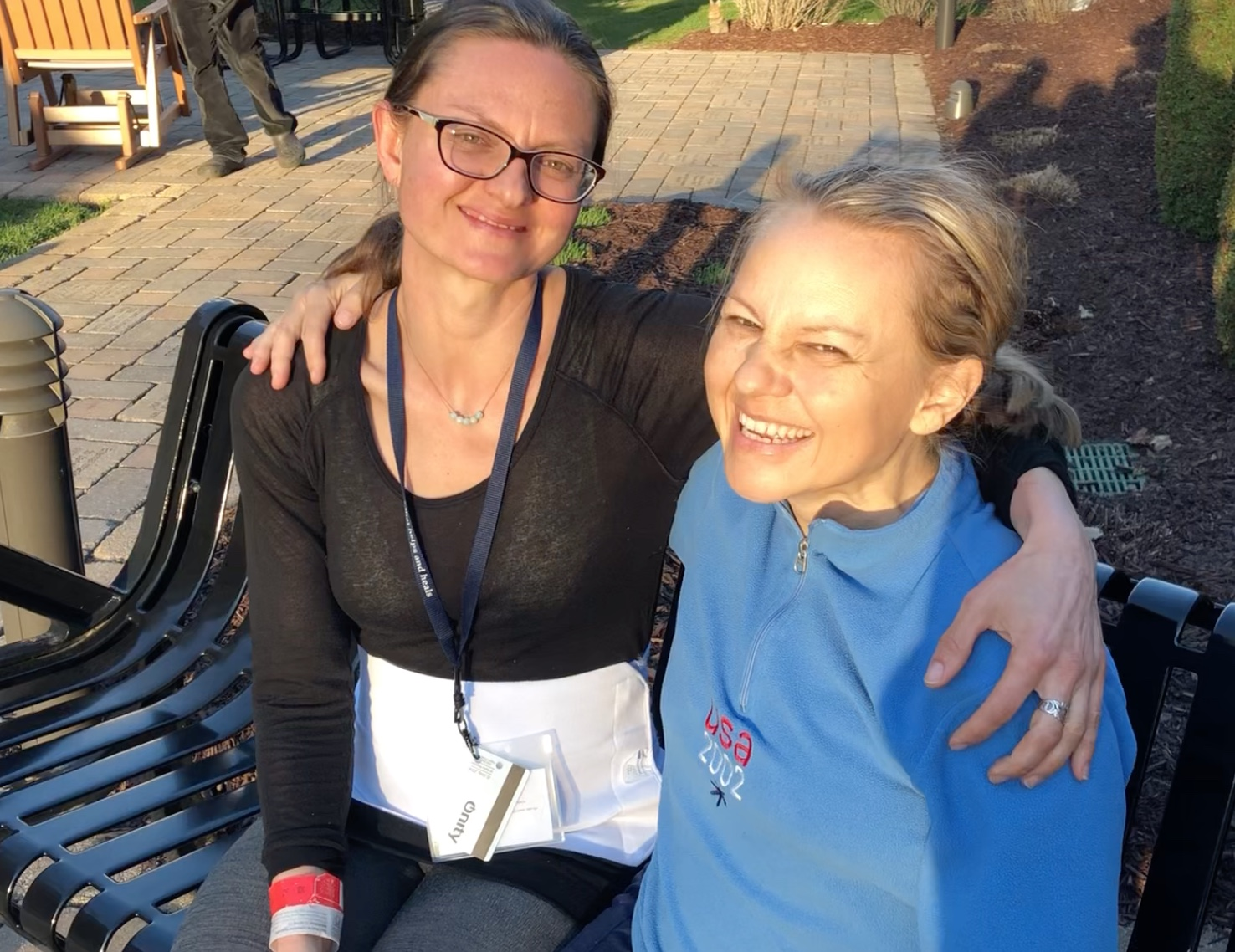 Bree (left) and I, five days after transplant, staying at Gift of Life Transplant House, Rochester, MN.