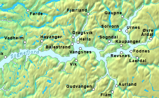 Kaupanger lies on eastern end of the Sognefjord, the longest fjord in Norway.