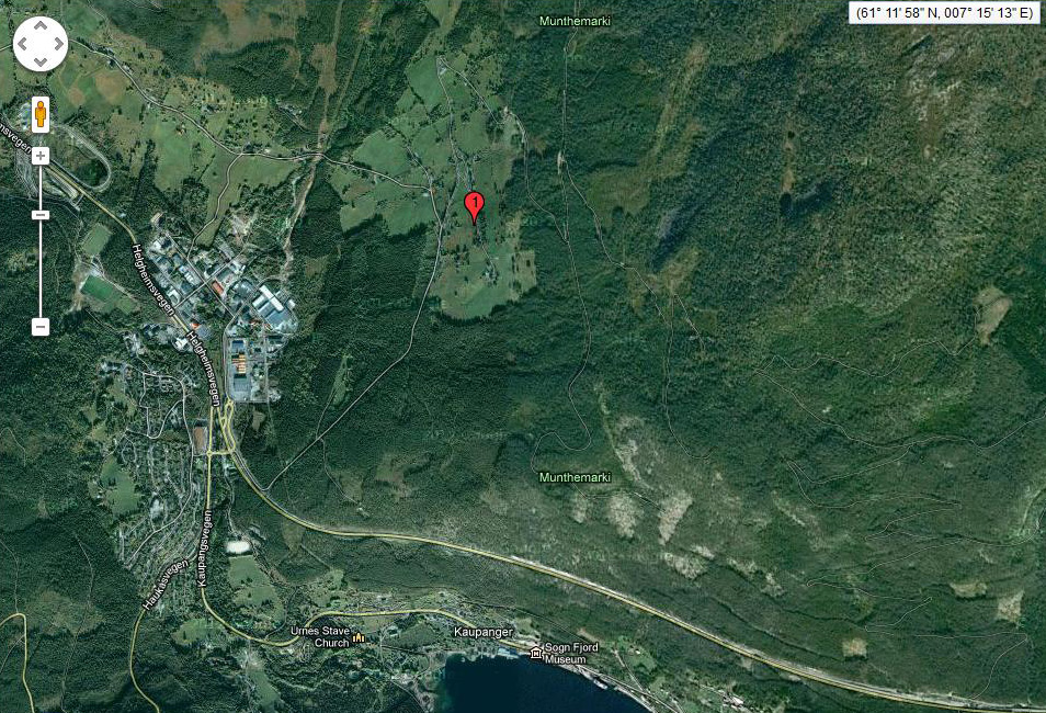 Here is the location of the Hostager farm in relation to Kaupanger, which can be seen at the bottom of the photo.