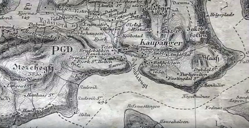 This 1874 map shows Hostaker located above Kaupanger.