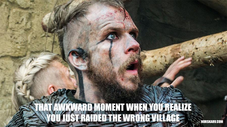 vikings floki meme Gustaf Skarsgård awkward moment raid wrong village norskarv alt for norge