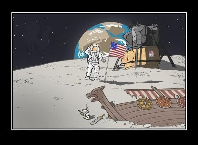 vikings ship moon meme astronaut norskarv funny alt for norge