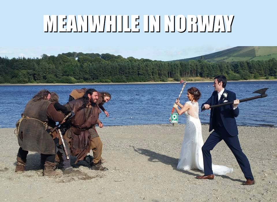 meanwhile in norway meme wedding bride groom norwegian alt for norge norskarv