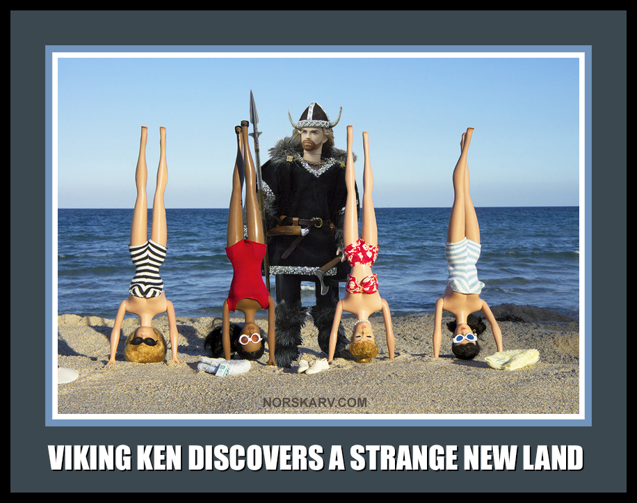 viking ken barbie meme discovers a strange new land norway norwegian norskarv alt for norge beach