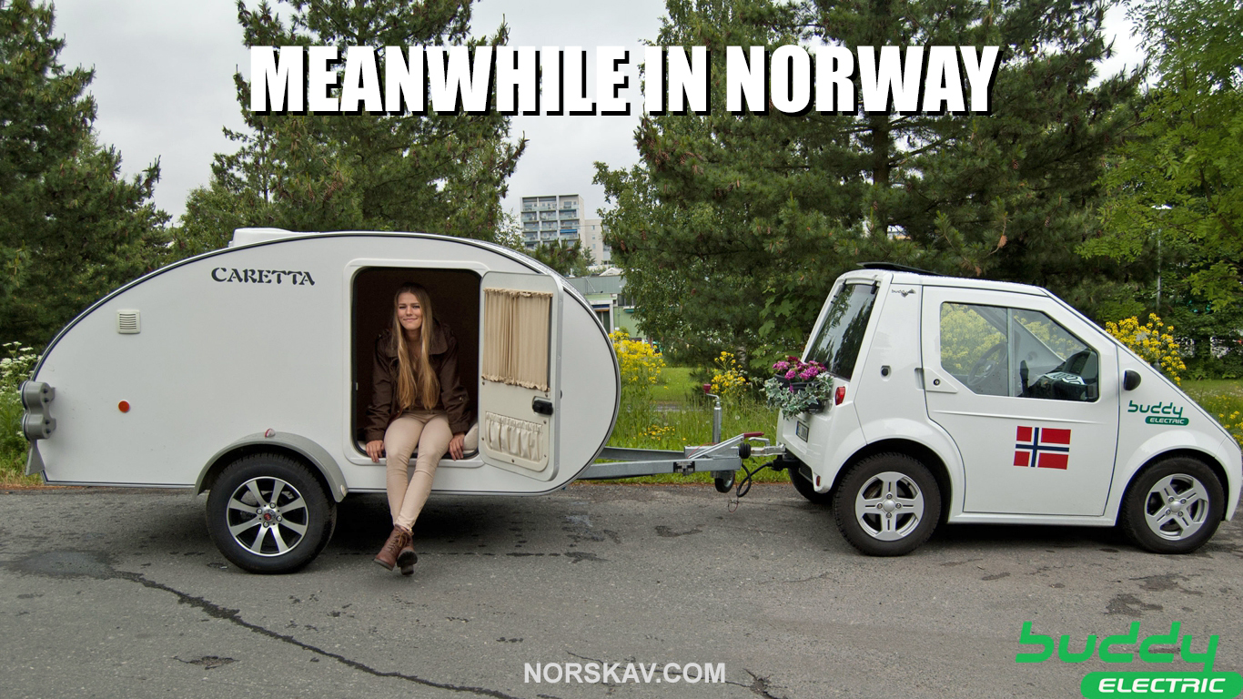 meanwhile in norway meme buddy electric car norwegian norskarv alt for norge