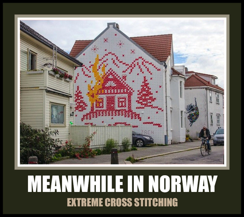 meanwhile in norway meme extreme cross stitching norwegian norskarv alt for norge funny humor