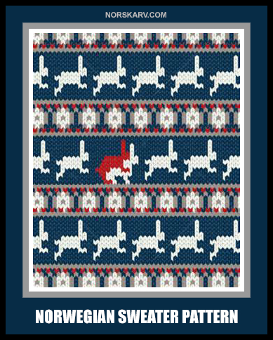 norwegian sweater pattern norway norskarv alt for norge bunny rabbit funny humor humorous