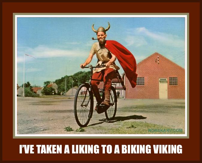 I've taken a liking to a biking viking meme Norway Norwegian Norskarv alt for norge fun funny humor wild crazy.
