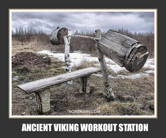 ancient viking workout station meme norway norwegian alt for norge norskarv weightlifting bench press fun funny humor humorous wild crazy