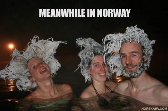 meanwhile in norway meme spa hot tub winter snow ice frost norwegian fun funny alt for norge humor wild crazy hair bikini