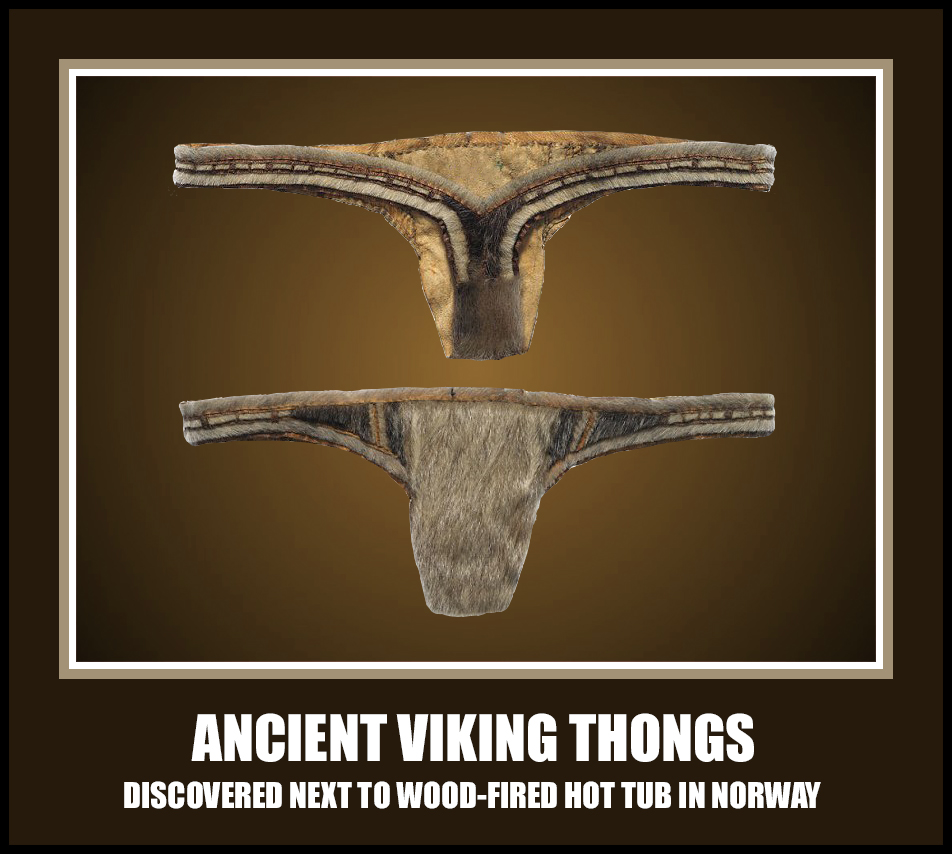 ancient viking thongs discovered next to wood-fired hot tub in norway norwegian norskarv alt for norge spa jacuzzi fun funny humor wild crazy