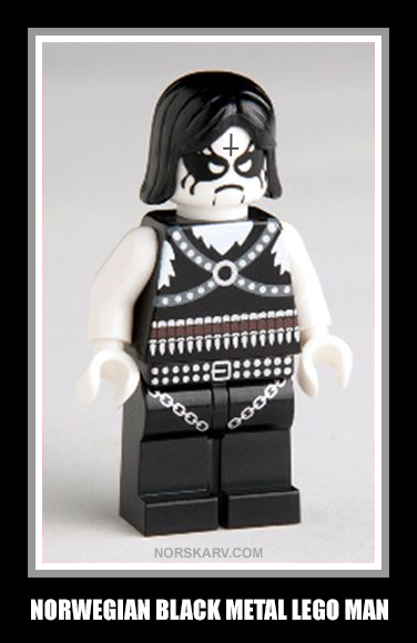 norwegian black metal lego man norway norskarv alt for norge fun funny humor humorous wild crazy