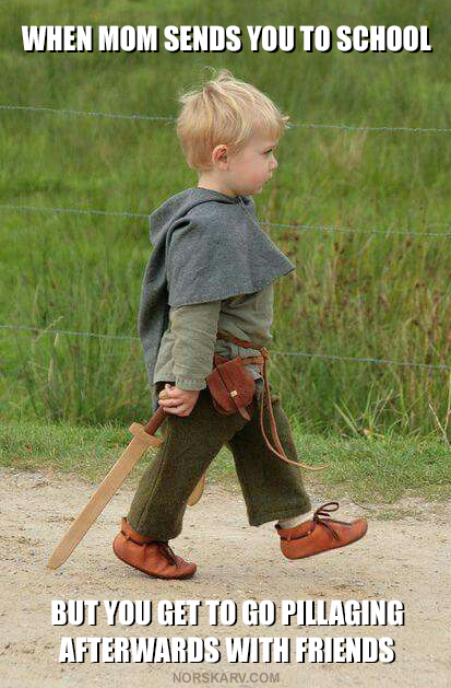 norway norwegian norskarv viking meme when mom sends you to school but you get to go pillaging afterwards with friends fun funny humor humorous wild crazy alt for norge