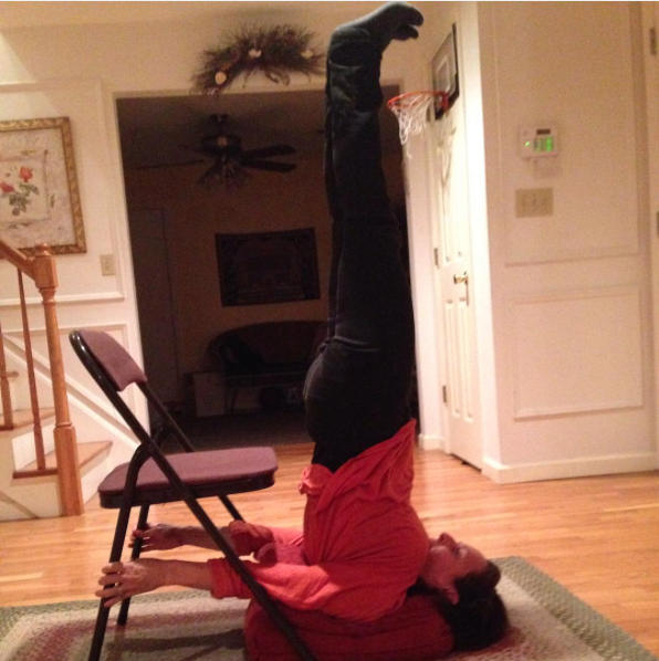 Doing a shoulder stand using props, a folding chair and bolster, feels awesome, and makes it more supportive and accessible. There are many benefits to being upside down, even in pregnancy - with modifications and proper instruction. Iyengar style of yoga incorporates the chairs and many other props you would not necessarily think of, into their classes., to assist, deepen, modify and support your practice. The most advanced yogis use them; as do beginners and pregnant women. My experience is once you know how to use them, you will want to use them more. Once you go props, you don't go back. - you expand, knowing you have more tools to help you on your journey.