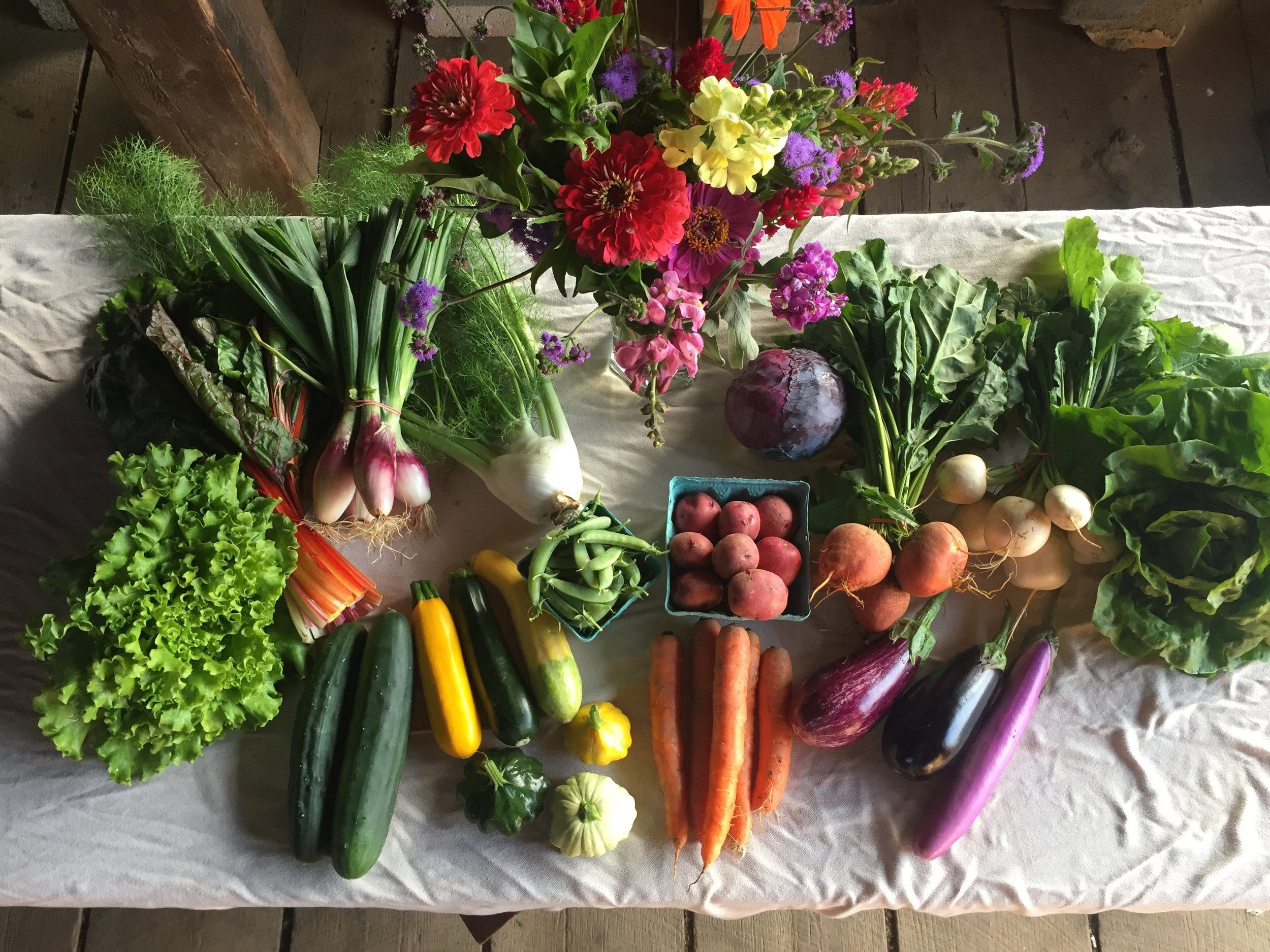 Full share in July, including U-Pick peas and flowers