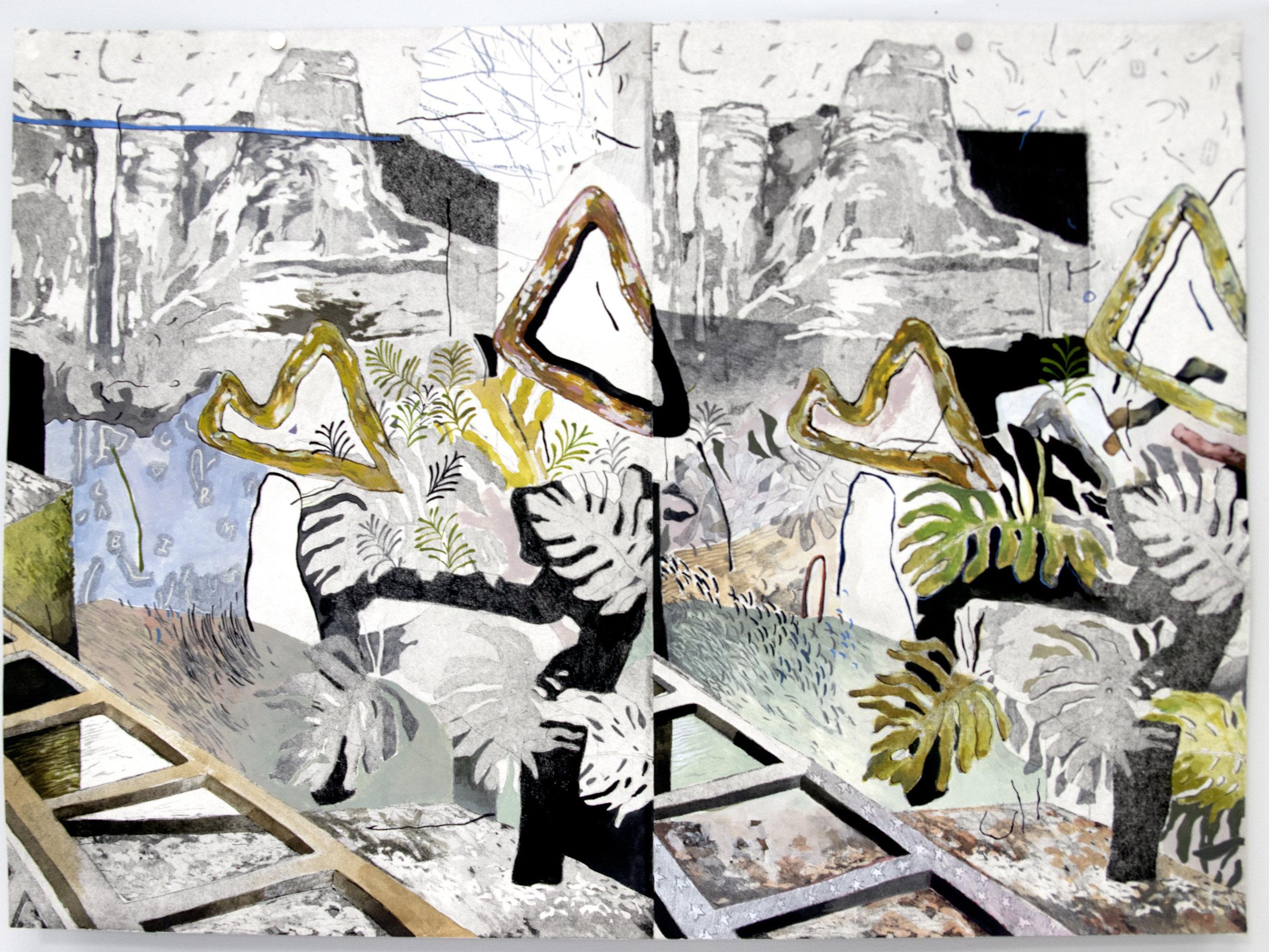 """Alliteration;  Intaglio, Acrylic, Graphite, 18""""x24"""", 2017"""