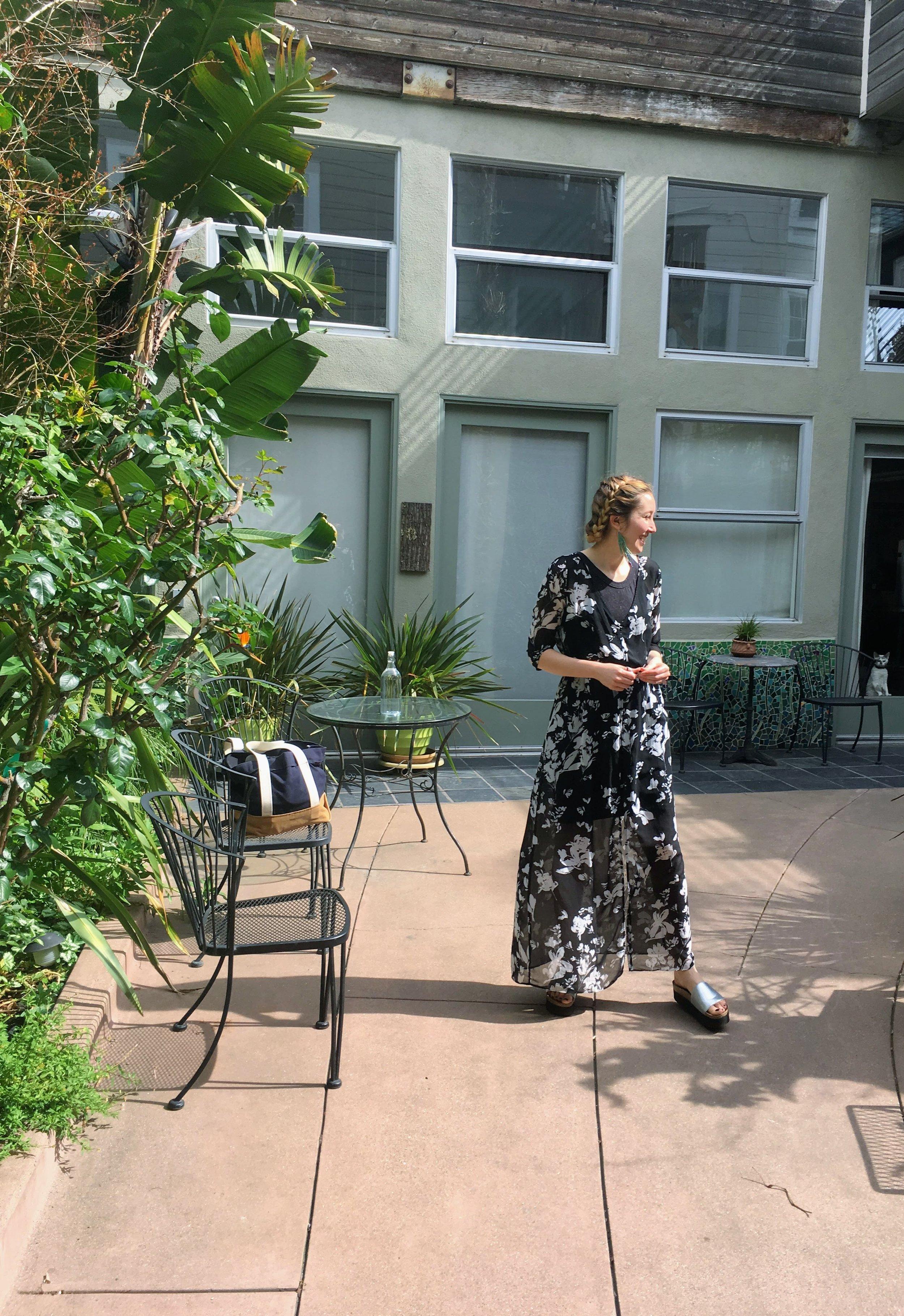 The artist in her garden.JPG