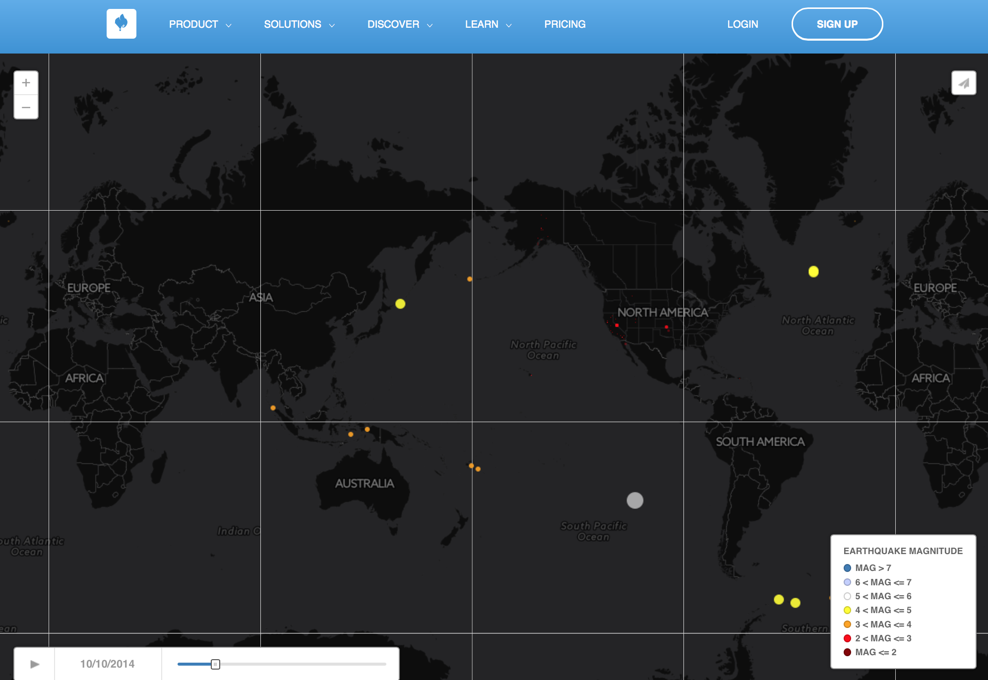 A temporal map of earthquakes as reported by the  USGS .